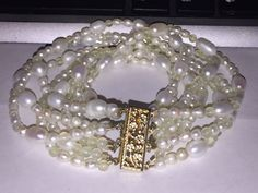 "Multi 8 Strand Real Pearl & Bead 14k Yellow Gold Fill Filigree Bracelet 8 5/8""  #Unbranded"