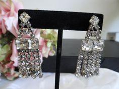 Vintage Clear Rhinestone Dangle Clip Earrings - Exquisitely Elegant Rhinestone Earrings by SecondWindShop on Etsy