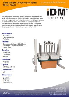 #IDM #ModelD0003 #DeadWeightCompressionTester #AS2582.3