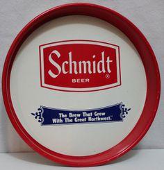 Vintage Metal Schmidt Beer Serving Tray by riverjim on Etsy, $45.00