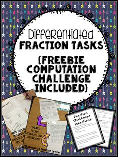 Math Tasks are perfect for Upper Elementary Classrooms. Read this post about using differentiated fraction tasks in the classroom. Freebie Computation Challenge included by Teaching to Inspire with Jennifer Findley. 4th Grade Fractions, Teaching Fractions, Fifth Grade Math, Teaching Math, Fourth Grade, Maths, Teaching Ideas, Fraction Activities, Math Activities