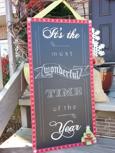 Chalk board Christmas sign  It's the most wonderful by LouandElle