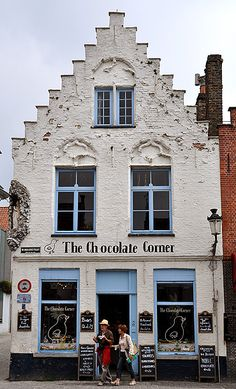 We at 'White Rooms in Bruges' love this one because of it's simplicity . Enjoy 'The Chocolate Corner' at Wijngaardstraat 17 - 8000 Brugge Belgium Belgium Food, Travel Belgium, Belgian Chocolate, Shop Fronts, Shop Around, Roadtrip, The Places Youll Go, Stucco Exterior, Craftsman Exterior