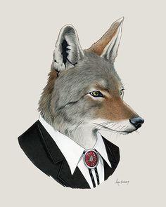Coyote - arte Animal - lámina arte vivero - vivero decoración - animales en la ropa - arte infantil - Ryan Berkley ilustración 8 x 10