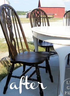 Distressed Black Chair Makeover --- Get a Pottery Barn inspired finish with spray paint!