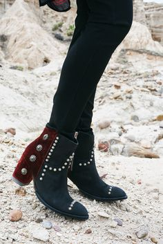 ~ New for Fall 2017 Velvet Tahoma Ankle Boot from DDR.  Featuring nail head studs with Navajo-inspired turquoise conchos.  Available in 3 color combos. ~