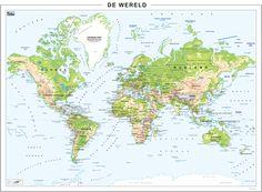 Grote Wereldkaart Natuurkundig 130x96
