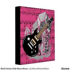 #BlackGuitar #PinkSheetMusic #SilverCrystals #Binder / #PhotoAlbum by #MoonDreamsDesigns #BackToSchool #MoonDreamsMusic