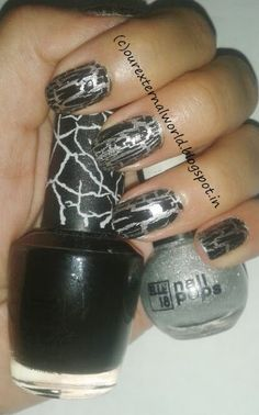Black And Silver Crackle Nail Art - Rock The Party!