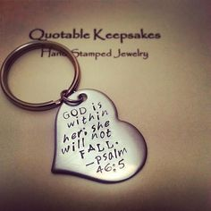 Bible Quote Keychain God Is Within Her She by QuotableKeepsakes, $17.00