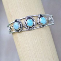 Natural Turquoise Sterling Silver Boho Cuff