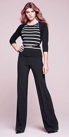 Power couple. Soft Drape pants paired with striking stripes. #WHBM #WorkMastered