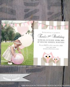 PRINTABLE BIRTHDAY INVITE * Customized with your photo * Digital file for print or email * Stripes * Owls * Bunting Banner