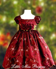 Wine Embroidered Girls Christmas Dress