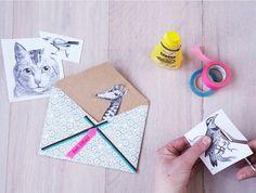 Crafty Handmade Envelopes DIY via Photo & styling: Katja Graumann, Anke Schutz. Origami, Arts And Crafts, Paper Crafts, Paper Paper, Fun Mail, Diy Envelope, Handmade Envelopes, Mail Art, Cute Crafts