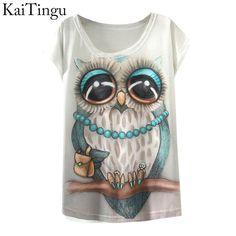 Kaiting 2017 Il nuovo modo di estate della molla T shirt Vintage Abbigliamento Donna Top Owl Stampa animale T-shirt stampata bianco donna Abbigliamento