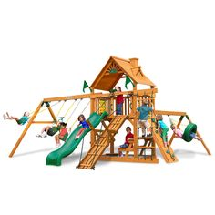 With the Frontier Cedar Swing Set by Gorilla Playsets in your backyard, the fun knows no end! From its oversized deck, to the climbing ramp and 360-degree Turbo Tire Swing, it will keep the kids busy playing all day long.