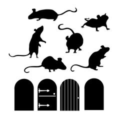 Mice Doors Silhouettes Animal Wall Decal Custom by danadecals