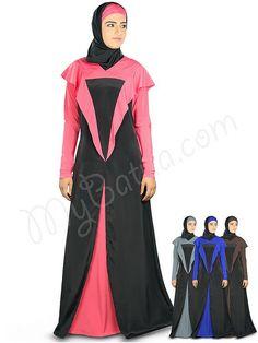 Beautiful Black_Sweet Pink Party Wear Juhainah #Abaya|#MyBatua.com Style No : AY-332 Price : $57.40 Available Sizes XS to 7XL