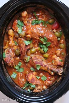 Slow cooker moroccan chicken. So easy and delicious. You can serve this with…