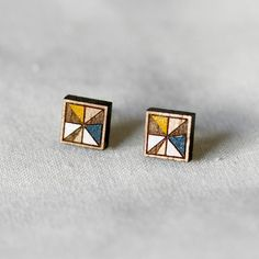 Square Stud Earrings in Yellow and Blue