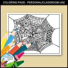 Spider web zentangle coloring page