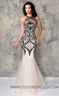 Nina Canacci Artful Lace Halter Gown Ivory Black Dress 4101 - plus size evening dresses, party dresses for women, top dress stores *ad Lace Dresses, Elegant Dresses, Prom Dresses, Formal Dresses, Dresses 2016, Dress Prom, Dress Wedding, Wedding Bride, Sexy Dresses
