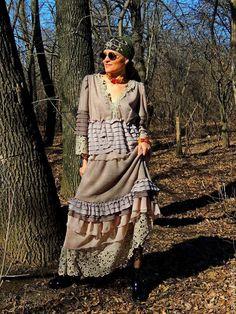 Купить Комплект БОХО цвета капуччино (№65) - комбинированный, костюм женский, комплект бохо