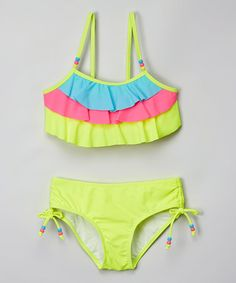Look what I found on #zulily! Safety Yellow Color Block Bikini - Girls #zulilyfinds