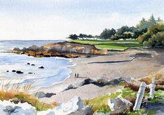 MOONSTONE BEACH California Watercolor Signed Art by k9artgallery, $12.50