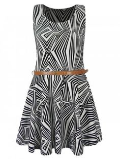 KarmaClothing Black White Abstract Maze Print Belted Skater Dress
