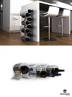 LOOP - Cellaret by Cobermaster Concept. Thanks to the grating's structural strenght, it can be used in the vertical position, or fixated to the wall in the horizontal position. Made for 8 wine bottles.