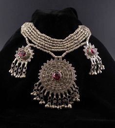 Syria   Vintage Bedouin necklace   Silver (usually low content) with red glass stones