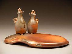 Tara Wilson cruet set, or oil set on tray.