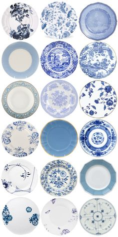 Various shades of blue patterned plates grouped strategically to create a wonderful display for a wall art focal point