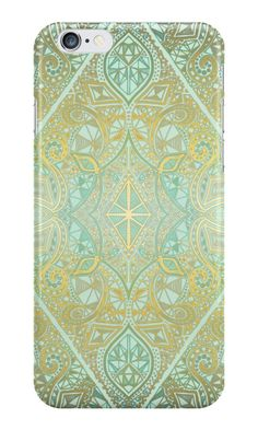 """""""Mint & Gold Effect Diamond Doodle Pattern"""" iPhone Cases & Skins by micklyn 