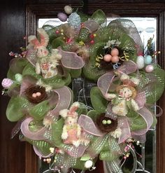 BUNNIES and BIRD'S NESTS Spring and Easter Deco Mesh by decoglitz