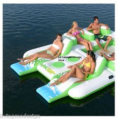 2014 Inflatable 6-Person Pool Raft Floating Island w/ 2 Built-in Coolers