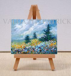 Field with Blue Flowers original oil paintinggift by valdasfineart