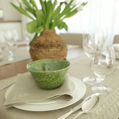 A touch of green to add color to your table set with hand embroidered table linens in Artha Collections Petal Design linen table runner. Banana Plants, Easter Table Decorations, Plant Fibres, Napkins Set, Unique Colors, Table Linens, Own Home, Table Runners, Hand Weaving