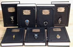 Leather-bound Harry Potter books with embedded Horcrux bookmarks