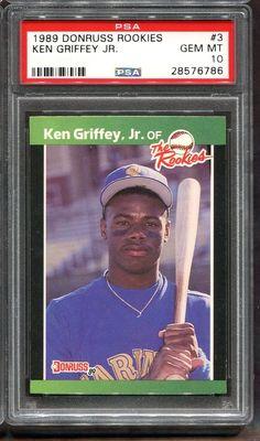6d1bcf244b 1989 Donruss Rookies #3 Ken Griffey Jr. Rookie RC PSA 10 HOF Seattle  Mariners #PSA10 #sportscards #collecting