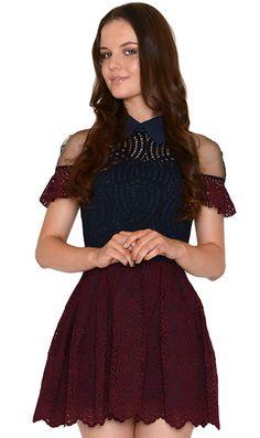Jones and Jones Katrina Burgundy and Navy Lace Dress