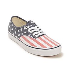 Get some patriotic style with the American Flag stars and stripes low-profile shoes on a vulcanized outsole with a classic Vans waffle tread for grip.