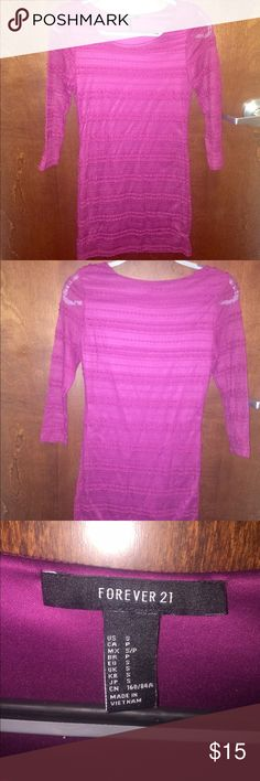 Pink lace long sleeved dress Sleeves are see through. Plum colored tight dress. Lace pattern. Forever 21 Dresses Mini