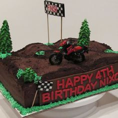 Dirt Bike Cake, decadent chocolate cake with chocolate buttercream icing and oreo topping