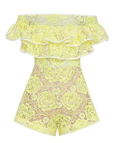 Alexis Off The Shoulder Ruffle Lace Romper: A stunning rendition of ruffled lace in a romper silhouette. Off the shoulder cut. Elasticated waistline. Lined. In yellow.   Fabric: 100% polyester Combo: 59% cotton/36% nylon/5% elasthane  Lining: 82% nylon/18% spandex Made in China.  Model ...