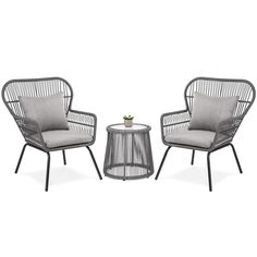 Best Choice Products Patio Wicker Conversation Bistro Set w/ 2 Chairs, Glass Top Side Table, Cushions - Gray Outdoor Furniture Sets, Porch Furniture, Patio Furniture, Bistro Set, Outdoor Patio Decor, Chair, Furniture Sets, Glass Top Side Table, Patio Furniture Sets