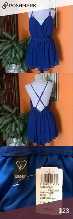 Backless Romper 💯% polyester Super cute! Backless, is shorts but looks like a shirt. NWT Size Large  💥Bundle and Save 💥Make me an offer I can't refuse! 💥I don't get offended with low offers. Don't be shy🤘🤘 Windsor Dresses Backless