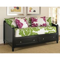 @Overstock.com - Twin-size Bedford Black DayBed - Ideal for furnishing a small guest bedroom or for a child's room, this twin size Bedford Daybed features two roomy drawers underneath. This lovely black daybed features brushed nickel pulls along with unadorned feet and finials for a streamlined look.  http://www.overstock.com/Home-Garden/Twin-size-Bedford-Black-DayBed/6621851/product.html?CID=214117 $601.97